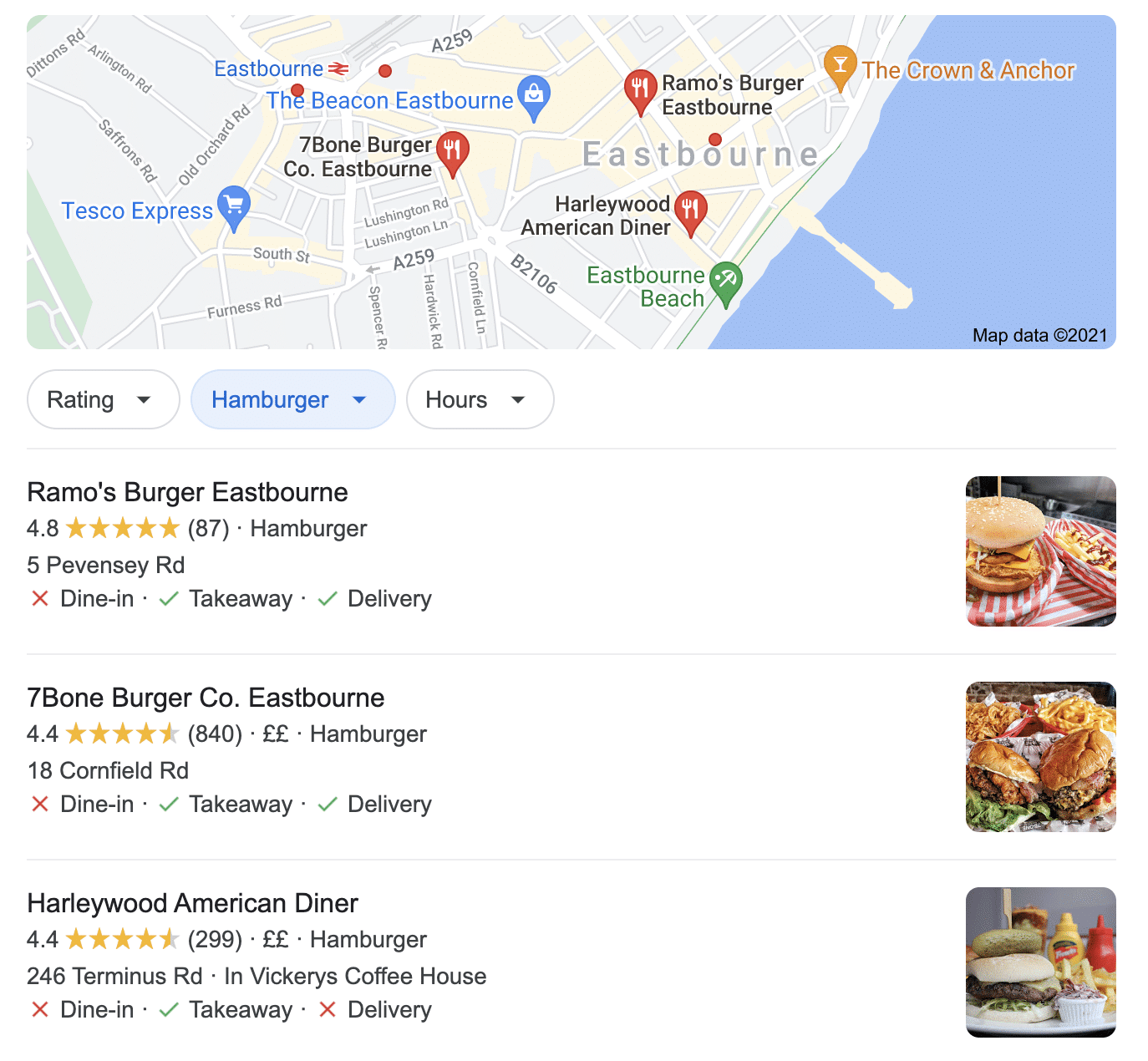 local seo results from GMB