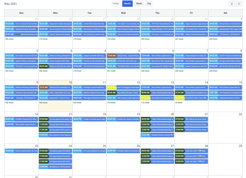 social media success calendar